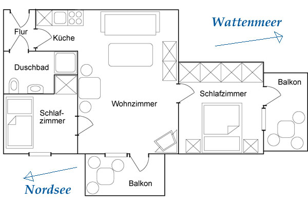 ferienwohnung marina wangerooge bilder ferienwohnung und insel. Black Bedroom Furniture Sets. Home Design Ideas